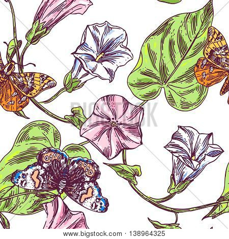 Beautiful hand drawn close up vector illustration sketching of wildflowers and butterflies. Boho style floral seamless pattern.