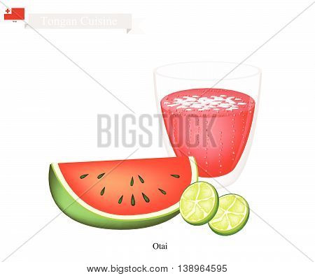 Tongan Cuisine Watermelon Otai or Traditional Drink Made From Watermelon and Coconut Cream. One of The Most Popular Drink in Tonga.