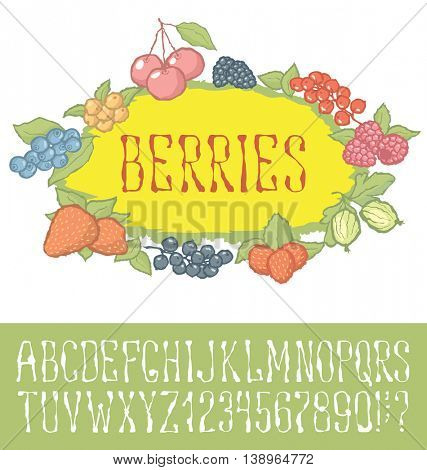 Vector berries pattern with hand made font. With inscription Berries