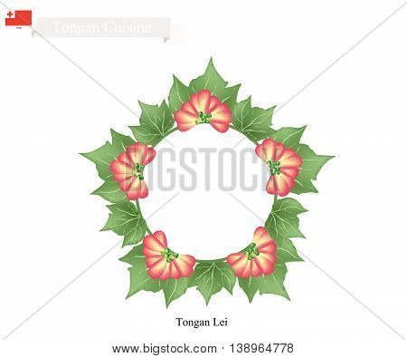 Tonga Flower Illustration of Tongan Lei or Tonga Garland Made From Heilala or Garcinia Sessili Flowers and Green Leaves for Birthday Wedding and Graduation Celebrations.