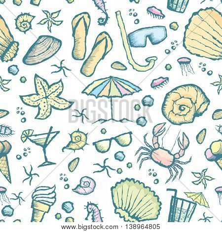 Vector with hand made seamless sea creatures pattern