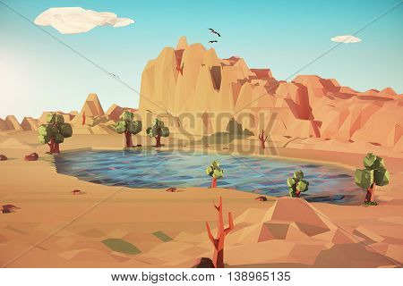 Colored Desert landscape with lake. 3D Rendering