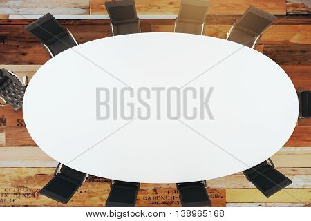 conference room interior with round table chairs. View from above. 3D Rendering