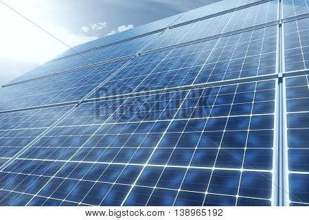 Concept of technology innovations in energy sector. 3D Rendering of solar panels against blue sky.