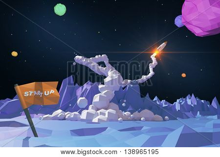Start up concept with abstract polygonal planet launching rocket ship and flag with text. 3D Rendering