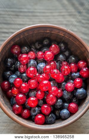 Wild redcurrant and bilberries in the bowl