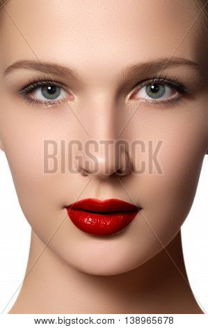 Portrait Of Elegant Woman With Red Lips. Beautiful Young Model