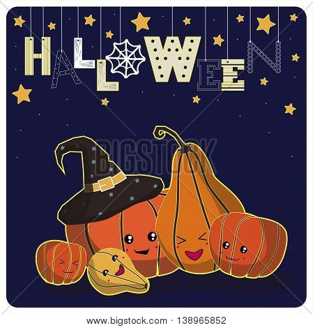Cover design.Smiling pumpkins,stars and the word halloween on the dark background.