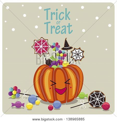 Happy Halloween cover design.Laughing pumpkin,candies and the phrase trick or treat on the beige background.