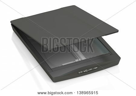 black flatbed scanner, 3D rendering isolated on white background