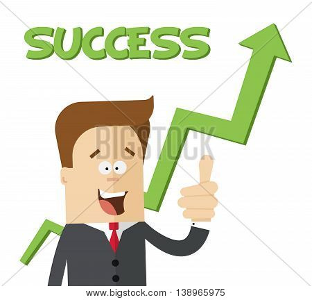 Happy businessman or manager on handicap growing chart. Isolated flat illustration