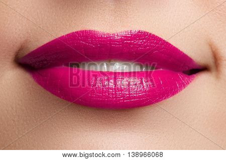 Beautiful Full Pink Lips. Pink Lipstick. Make-up And Cosmetics