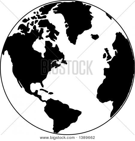 Vector Map Of The World On The Globe
