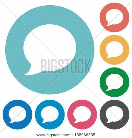Flat Blog comment icon set on round color background.