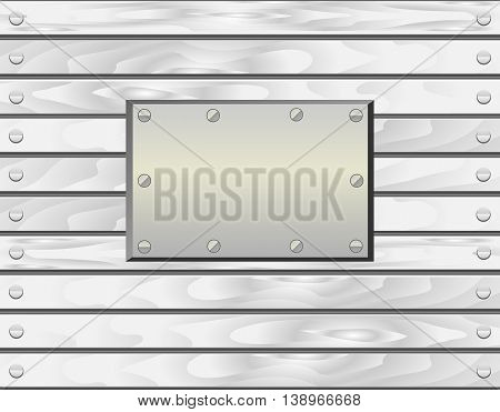 Wood texture background of white painted boards with nails and metal plate for text. Realistic vector illustration