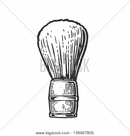 Shaving brush. Vector black illustrations on white backgrounds. Hand drawn vintage engraving for poster, label, banner, web