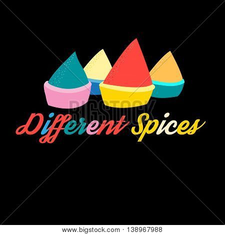 Graphics illustration of colorful spices on black background