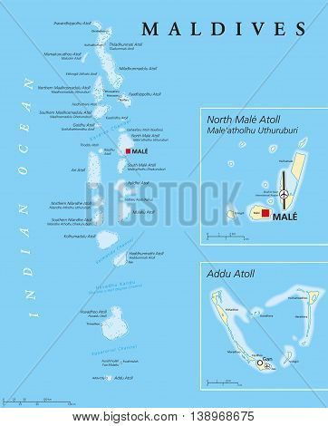 Maldives political map with capital Male on Kings Island and important towns. Republic and island country in the Indian Ocean. A chain of twenty six atolls. English labeling. Detailed Illustration.