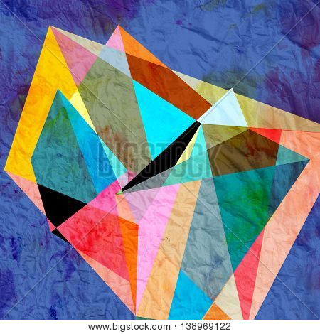 Abstract colorful watercolor background with different geometric elements