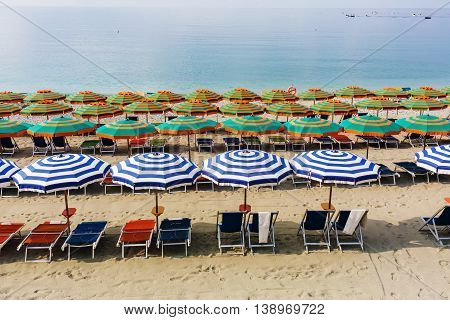 Sunshades On The Beach Of Monterosso, Cinque Terre, Italy
