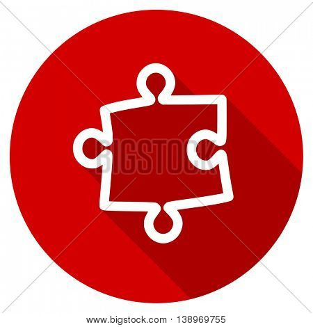 puzzle vector icon, red modern flat design web element