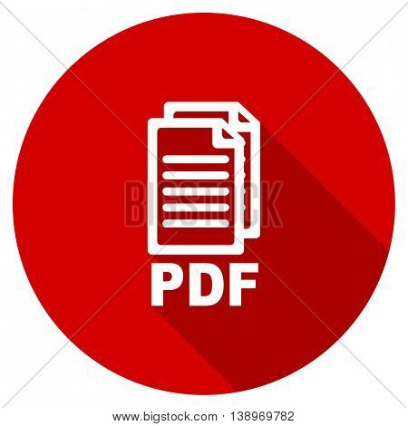 pdf vector icon, red modern flat design web element,