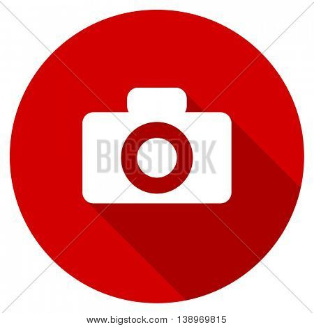 camera vector icon, red modern flat design web element