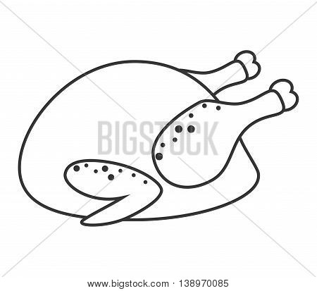 Delicious chicken broaster isolated flat icon, vector illustration design.