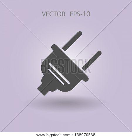 Flat  power plug  vector icon
