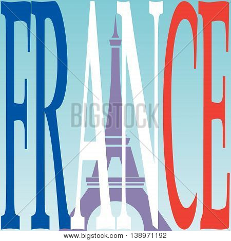 Eiffel tower illustration and French flag from the word France.