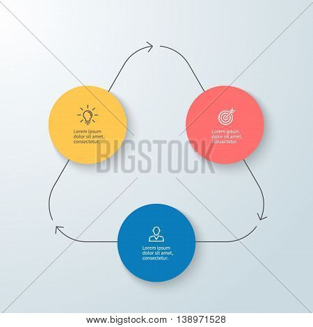 Business infographics. Minimalistic diagram, chart, graph with 3 steps. Vector design element.