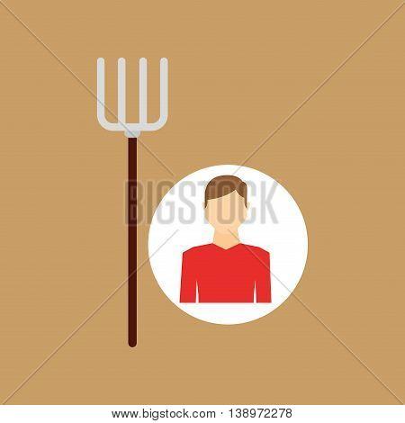 farm countryside farmer people isolated, vector illustration
