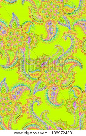 bohemian paisley pattermn. neon gypsy boho colors, intricate detailes, lace ornament with artistic style.