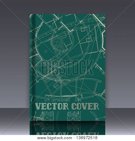 Drawing of abstract architectural detail on flat surface. Image of colorful blueprint for use as background for web and print. Template for cover or banner with draft plan of a building.