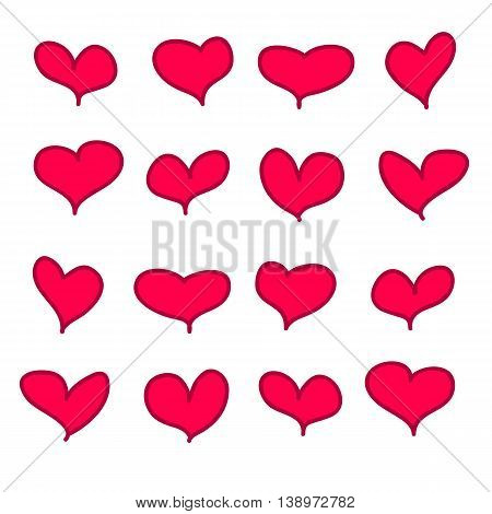 Set of 16 vector red pink calligraphic handdrawn hearts.