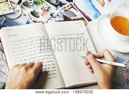 Hands Writing Journal Tea Concept