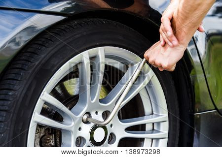 Car wheel changed by Wrench on the road trip