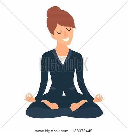 Business woman meditating. Concept of calm business work at office. Happy worker. Business Woman in yoga pose lotus position. Cartoon style vector illustration isolated on white background