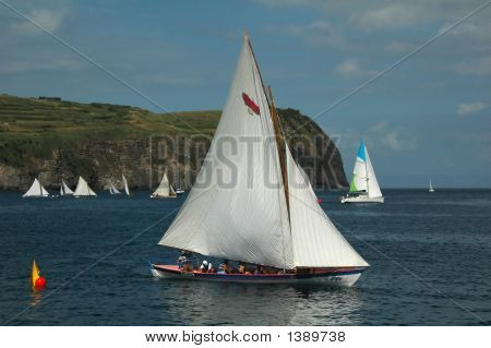 Azores Whaling Canoe During A Sailing Race