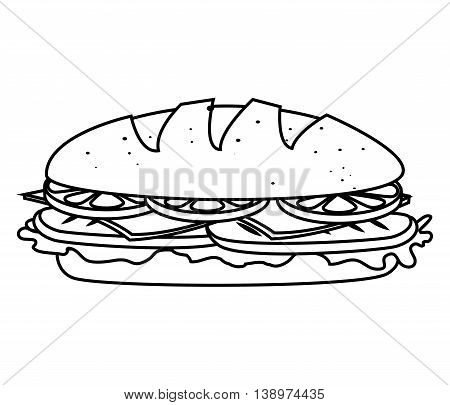 Delicious sandwich fast food isolated flat icon, vector illustration.