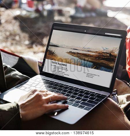 Travel Plan Laptop Journey Trip Backpack Concept