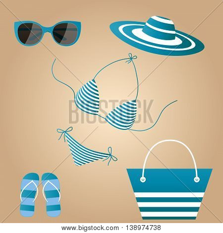 Beach accessories in a marine style. Female set summer blue white swimsuit. Hat. Sneakers. Bag. Sunglasses