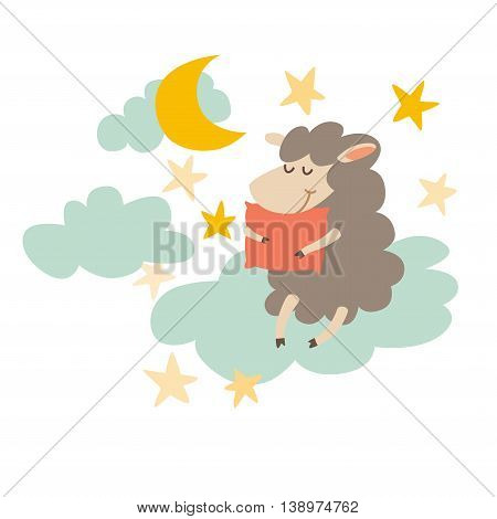 Sleeping sheep with pillow on night sky. Sweet dreams. Vector illustration on white background. Flat sticker