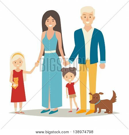 Happy family with two kids and dog. Cartoon caracters people group: mother, father and sisters. Flat style vector illustration isolated on white background