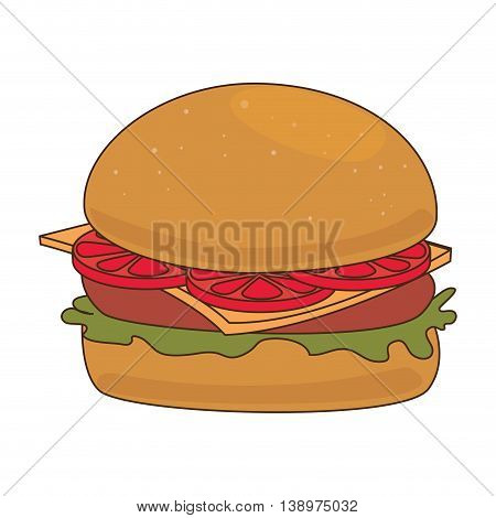Delicious hamburger fast food isolated flat icon, vector illustration.