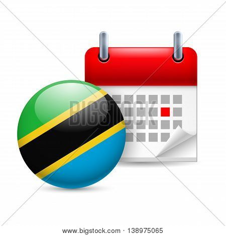 Calendar and round Tanzanian flag icon. National holiday in Tanzania