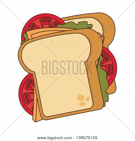 Delicious sandwich with tomato, lettuce and chesse, vector illustration.