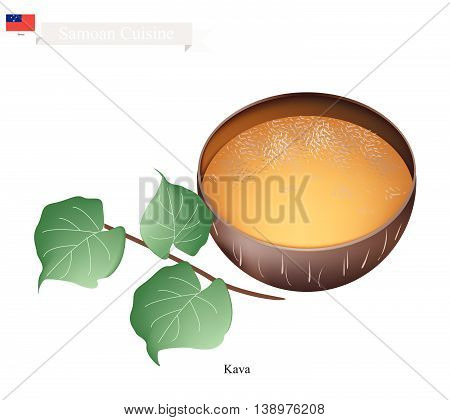 Samoan Cuisine Illustration of Kava Drink or Traditional Beverage Made From The Roots of The Kava Plant Mixed with Water. One of The Most Popular Drink in Samoa.