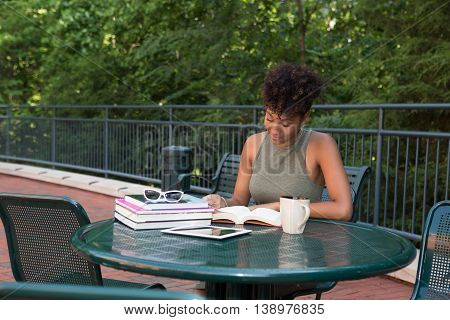 Young african american college student studying on camps
