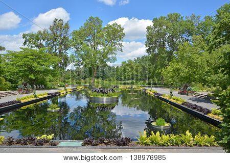 Montreal botanical garden reflecting pond i summer